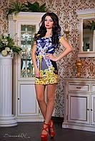 Платье 0767 / синий / желтый