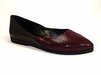 Бордовые балетки кожаные женская обувь Scara U Ript Burgundy Leather by Rosso Avangard рептилия, фото 1