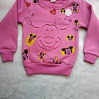 """Батник для девочки трехнитка с 1до 4лет""""Мики Маус"""" розовый"""