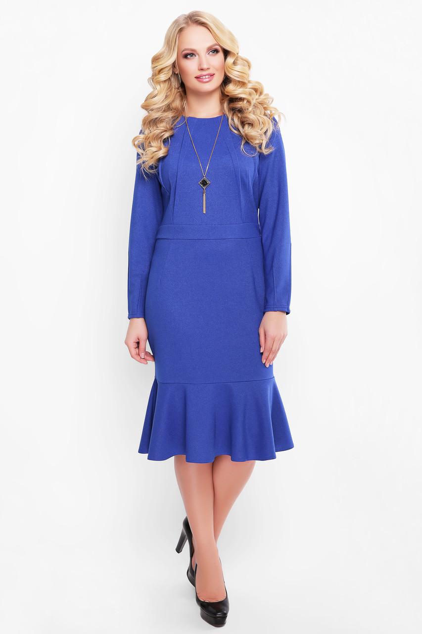 Платье с люрексом больших размеров Роми сапфир