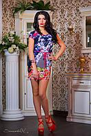 Платье  0768 / синий / коралл