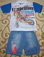 "Костюм футболка+шорты джинс для мальчика ""мотоциклист"" синий рост 86-104"