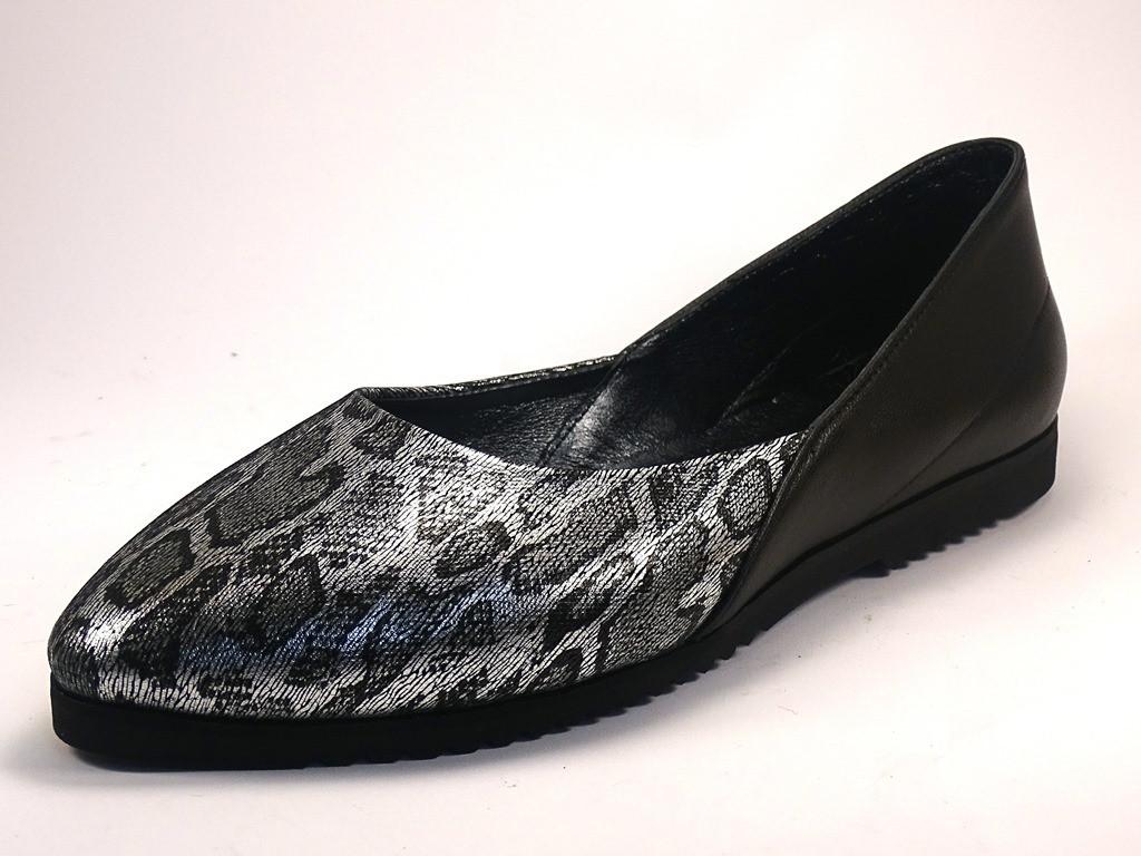 Балетки серебряные кожаные женская обувь Scarab V Silver Leo by Rosso Avangard