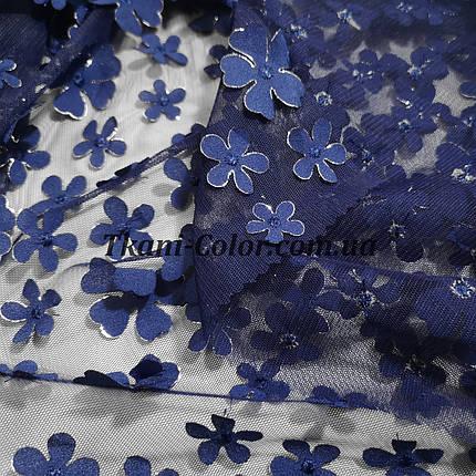 Сетка (стрейч) расшитая цветами синяя, фото 2