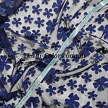Сетка (стрейч) расшитая цветами синяя, фото 3