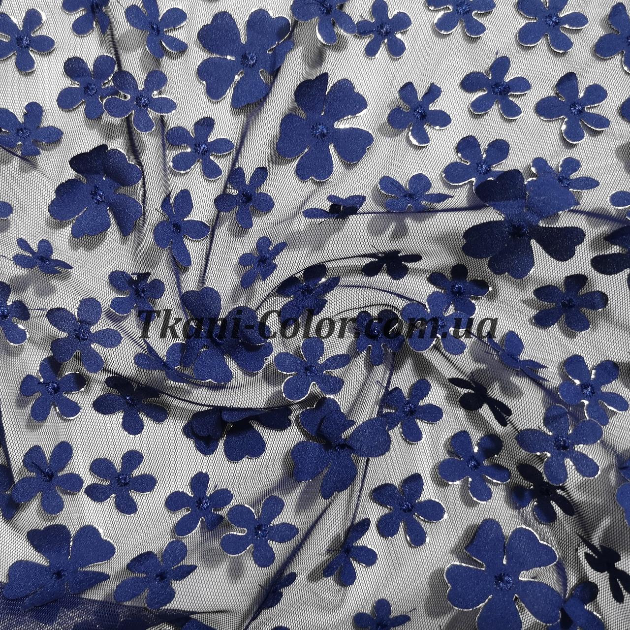 Сетка (стрейч) расшитая цветами синяя
