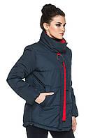 Демисезонная женская куртка прямого кроя с воротником-стойкой 44-56 синяя, фото 1