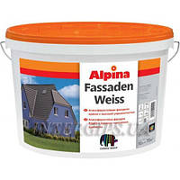 ALPINA Fassadenweiss B1 10л Атмосферная белая дисперсионная фасадная краска