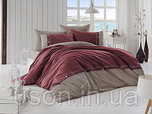 Комплект постельного белья ранфорс de lux First Choice евро размер Raina bordo