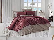 Комплект постільної білизни ранфорс de lux First Choice євро розмір Raina bordo