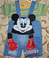 """Комбинезон джинсовый шорты+футболка""""микимаус"""" для мальчика 1-3 года зеленый"""
