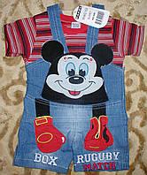 """Комбинезон джинсовый шорты+футболка""""микимаус"""" для мальчика 1-3 года красный"""