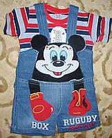 """Комбинезон джинсовый шорты+футболка""""микимаус"""" для мальчика 1-3 года красно-синий"""