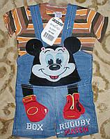 """Комбинезон джинсовый шорты+футболка""""микимаус"""" для мальчика 1-3 года рыжий"""