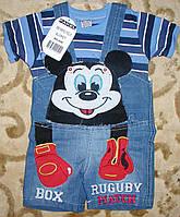 """Комбинезон джинсовый шорты+футболка""""микимаус"""" для мальчика 1-3 года синий"""