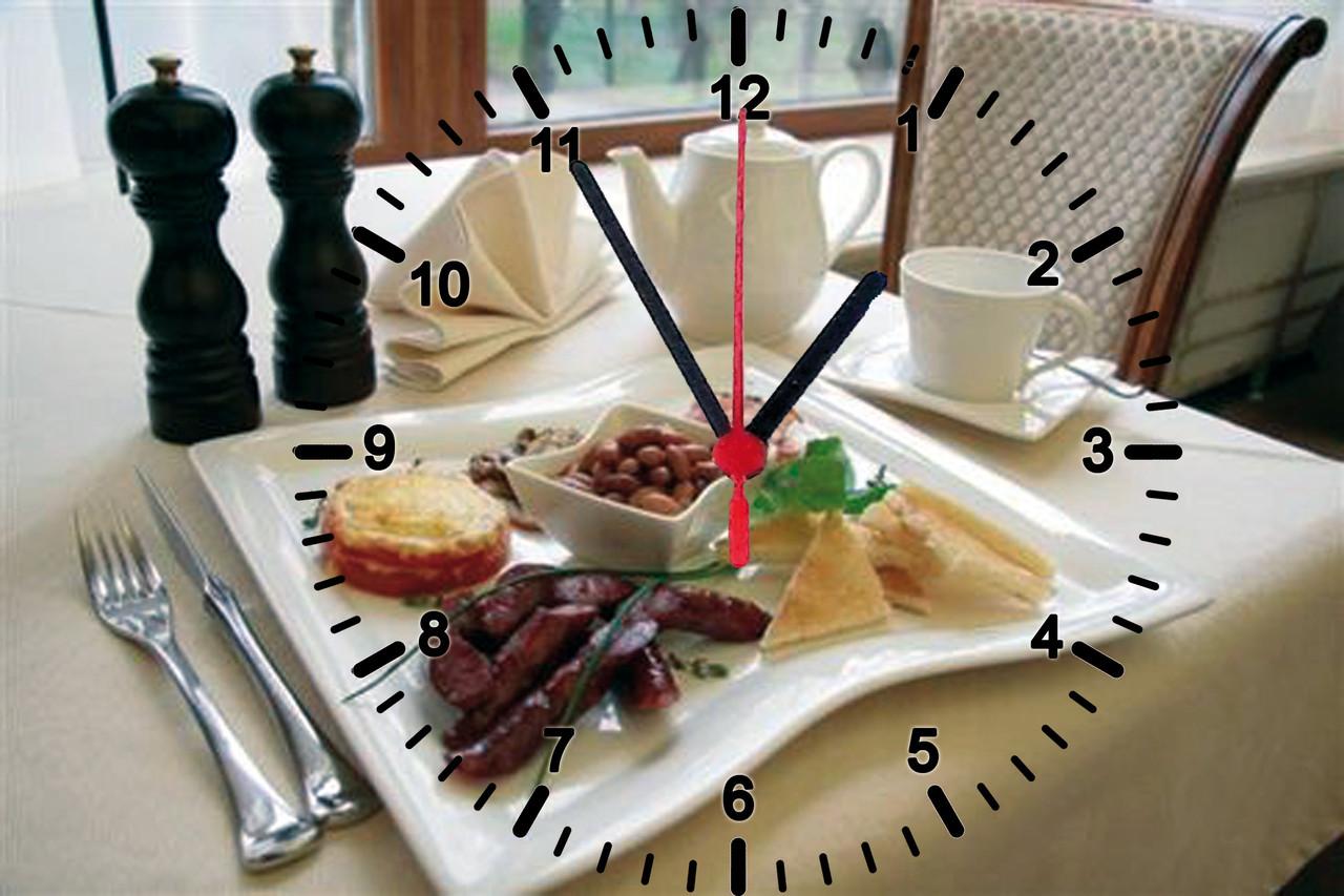 """Настінні годинники МДФ кухонні """"Обідній стіл"""" кварцові"""