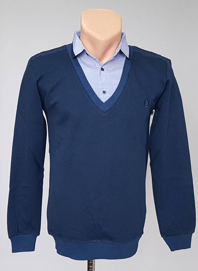 фотография мужской джемпер обманка синего цвета