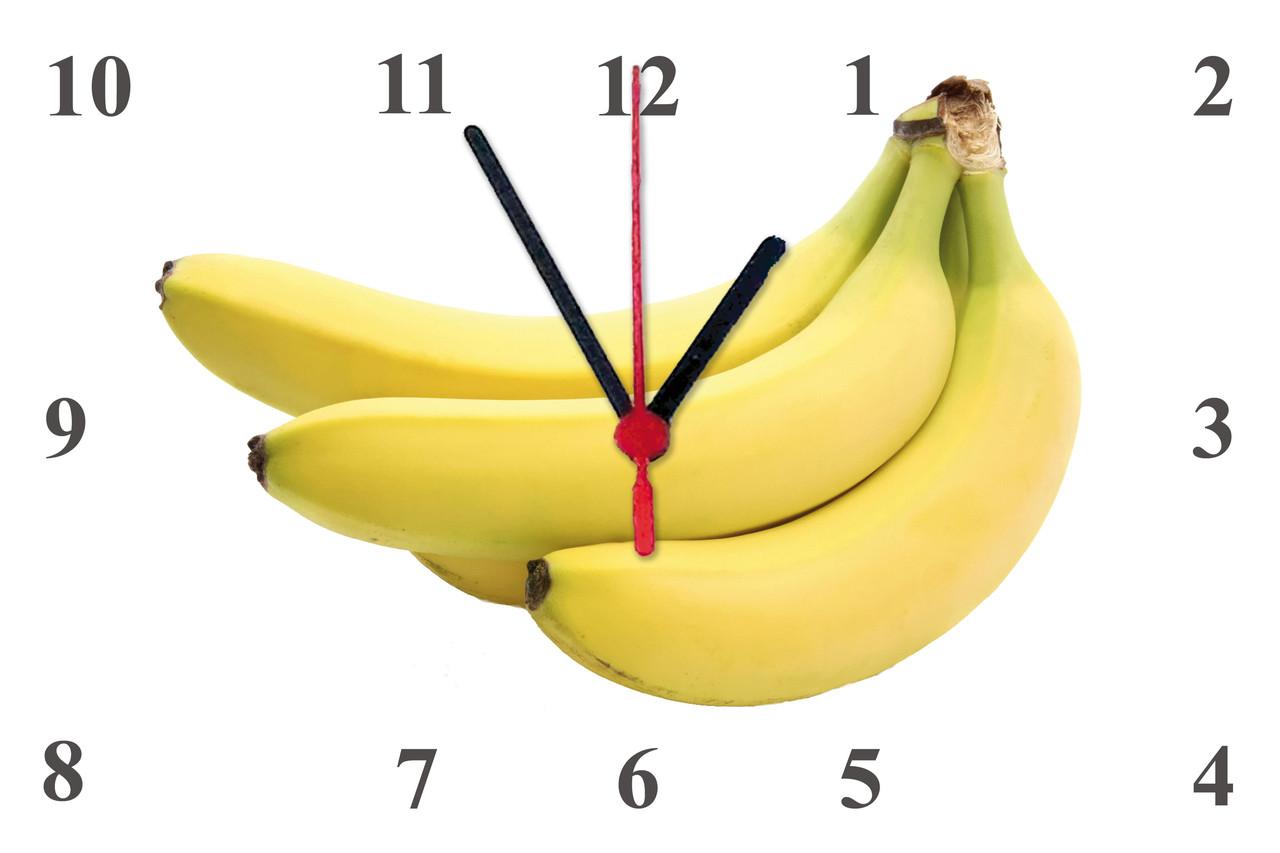 """Настінні годинники МДФ кухонні """"Банани"""" кварцові"""