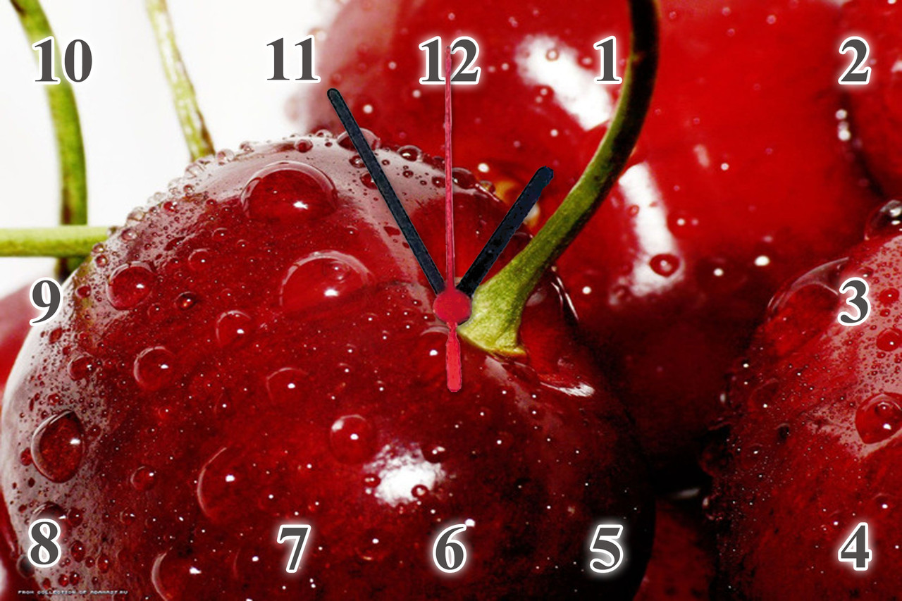 "Настенные часы МДФ кухонные ""Черешня"" кварцевые"