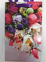 Пакет подарочный бумажный крафт малый 11х18х6 (21- 100)