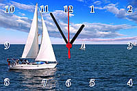 "Настенные часы на стекле ""Яхта с белыми парусами"" кварцевые"