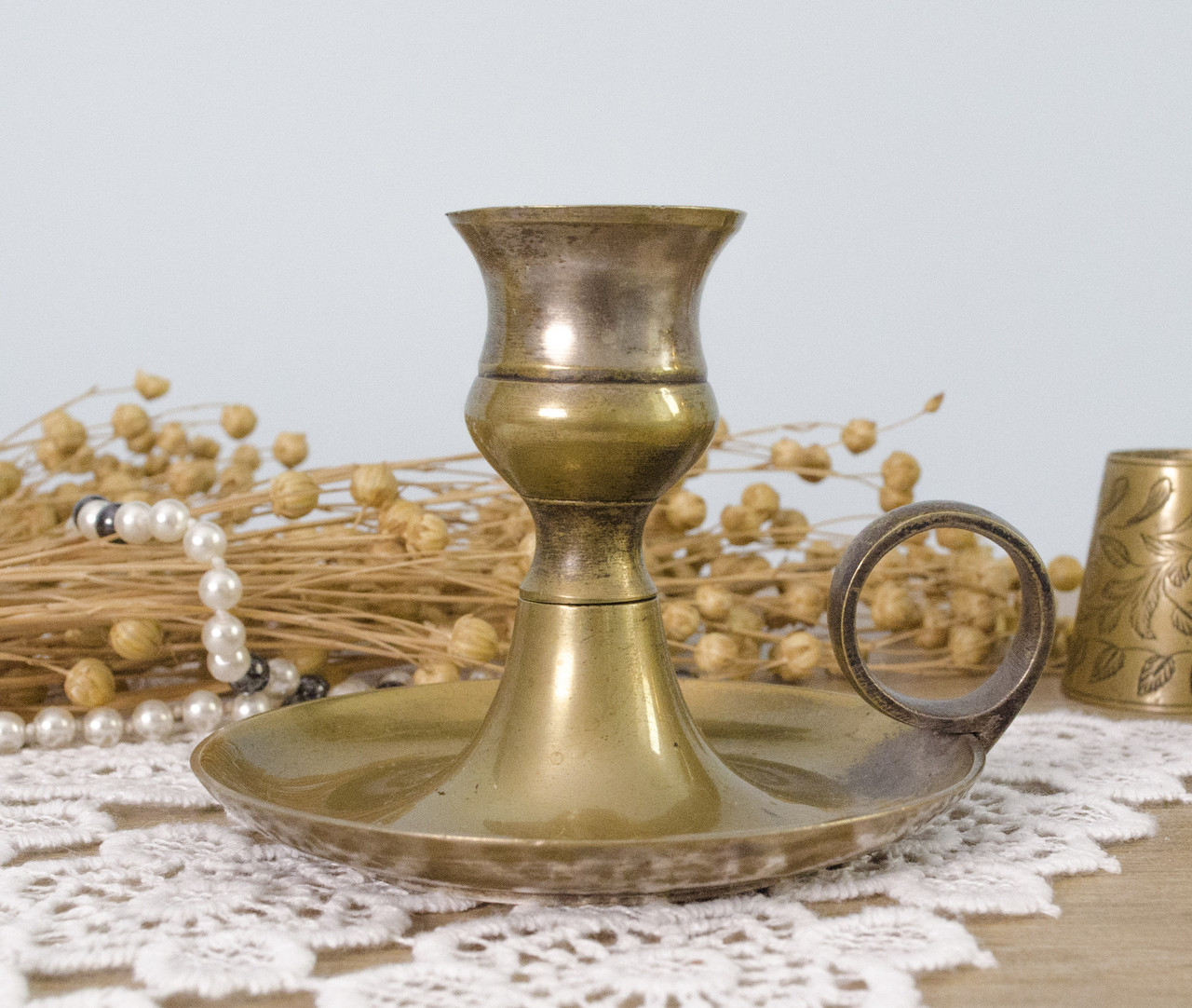Настольный подсвечник бронзовый, ночник, бронза, Англия