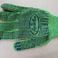 Перчатки трикотажные рабочие   зеленые Алиско хб точкой пвх, фото 1