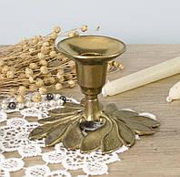 Старый бронзовый подсвечник, бронза, основание в форме цветка, Англия, фото 1