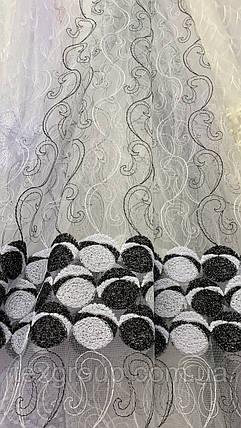Тюль фатин белый с чёрной вышивкой  IST-2135, фото 2