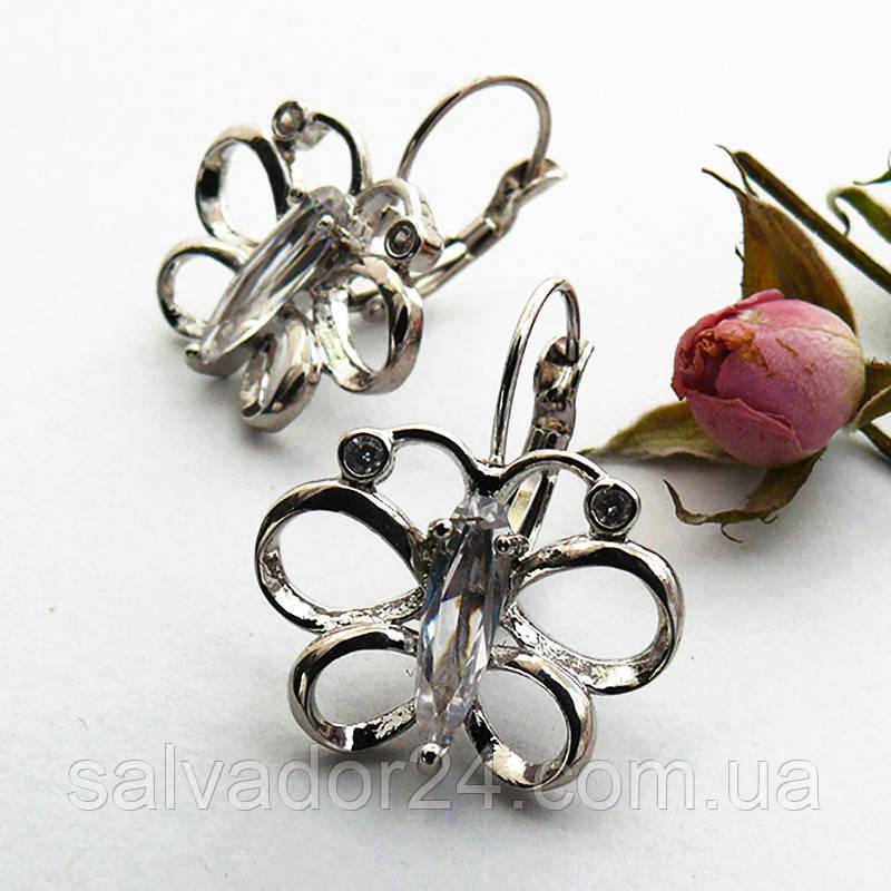 Женские серьги бабочки белая позолота с фианитами