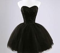Пышное черное платье короткое