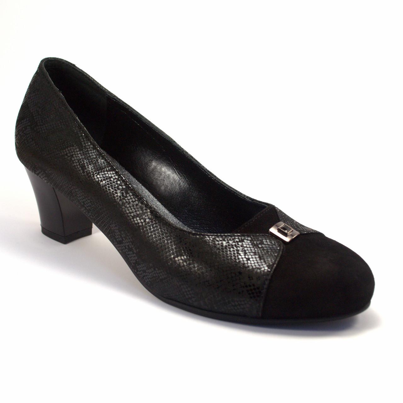 Туфли лодочка женская обувь Pyra Silver Black Lether Scales by Rosso Avangard цвет черный