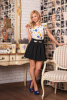 Женский стильный молодежный костюм двойка: блуза+юбка р.42,44,46