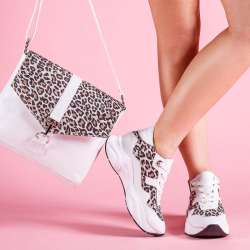 Кроссовки кожаные с леопардовым принтом Размерный ряд 36-40
