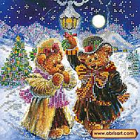 Схема для вышивки бисером на натуральном художественном холсте Искры волшебной зимы