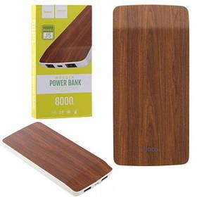 Внешний аккумулятор Power Bank Hoco J5 Wooden 8000mAh Original. Красный дуб
