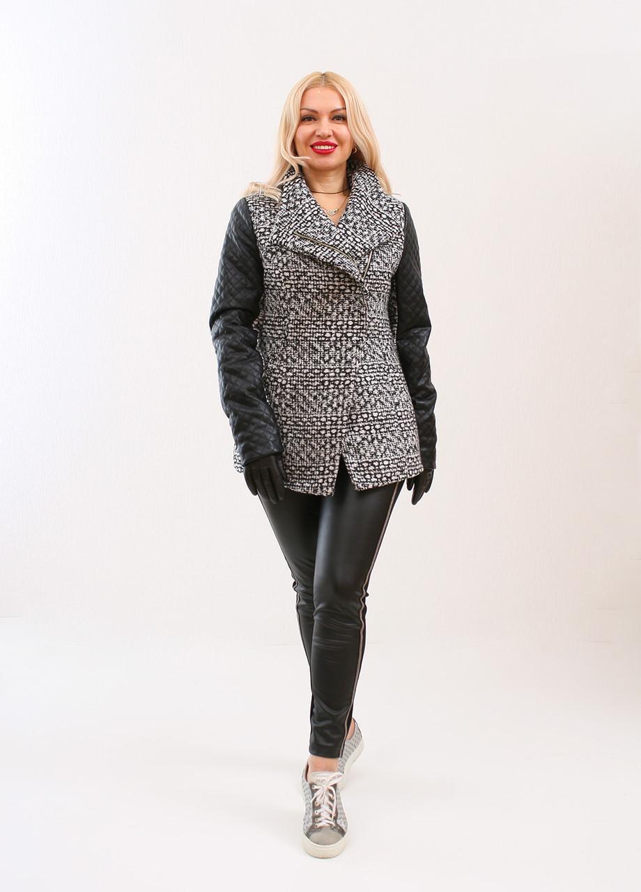 92722502318 Демисезонная куртка FIMKAREA черно-белого цвета