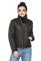 Модная демисезонная женская куртка с воротником-стойкой с жемчугом 44-54 черная