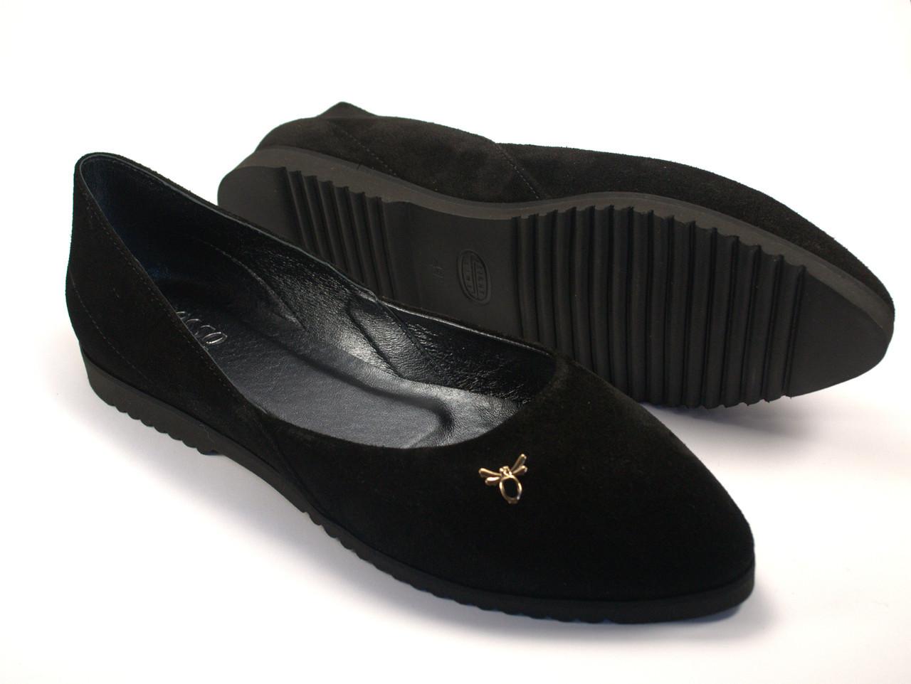 Балетки жіночі замшеві Scarab V Gold Black Vel by Rosso Avangard колір чорний