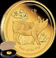 """1/4oz Золота монета """"Рік Свині 2019"""" (пруф) у футлярі, фото 1"""