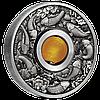На удачу! ~ Срібна монета-талісман зі вставкою-бусиною з жовтого топазу, що обертається, у рамці