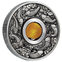 На удачу! ~ Срібна монета-талісман зі вставкою-бусиною з жовтого топазу, що обертається, у рамці, фото 1