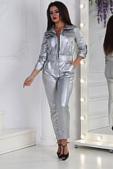 Стильный женский кожаный комбинезон на змейке с нагрудными карманами, норма и полубатал большие размеры