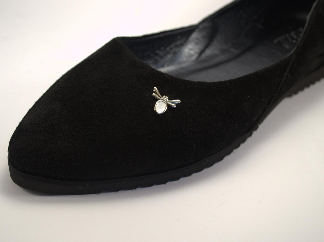 Балетки женские большого размера замшевые Scarab V Gold White Vel by Rosso Avangard BS цвет черный