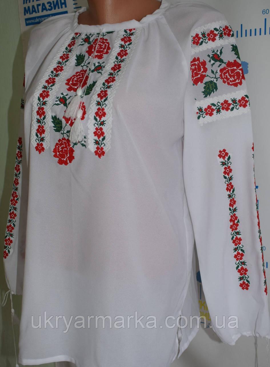 """Блузка вишита шифонова """"Рожеві квіти"""""""