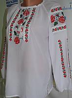 """Блузка вишита шифонова """"Рожеві квіти"""" , фото 1"""
