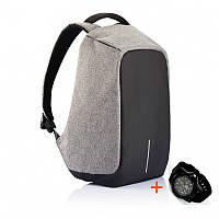 Рюкзак Bobby Бобби антивор Серый с USB, часы Swiss Army в подарок