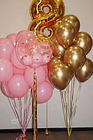 Набор шаров с цифрой и Шаром Баблс с надписью Розовая Пастель с Золотым Хромом
