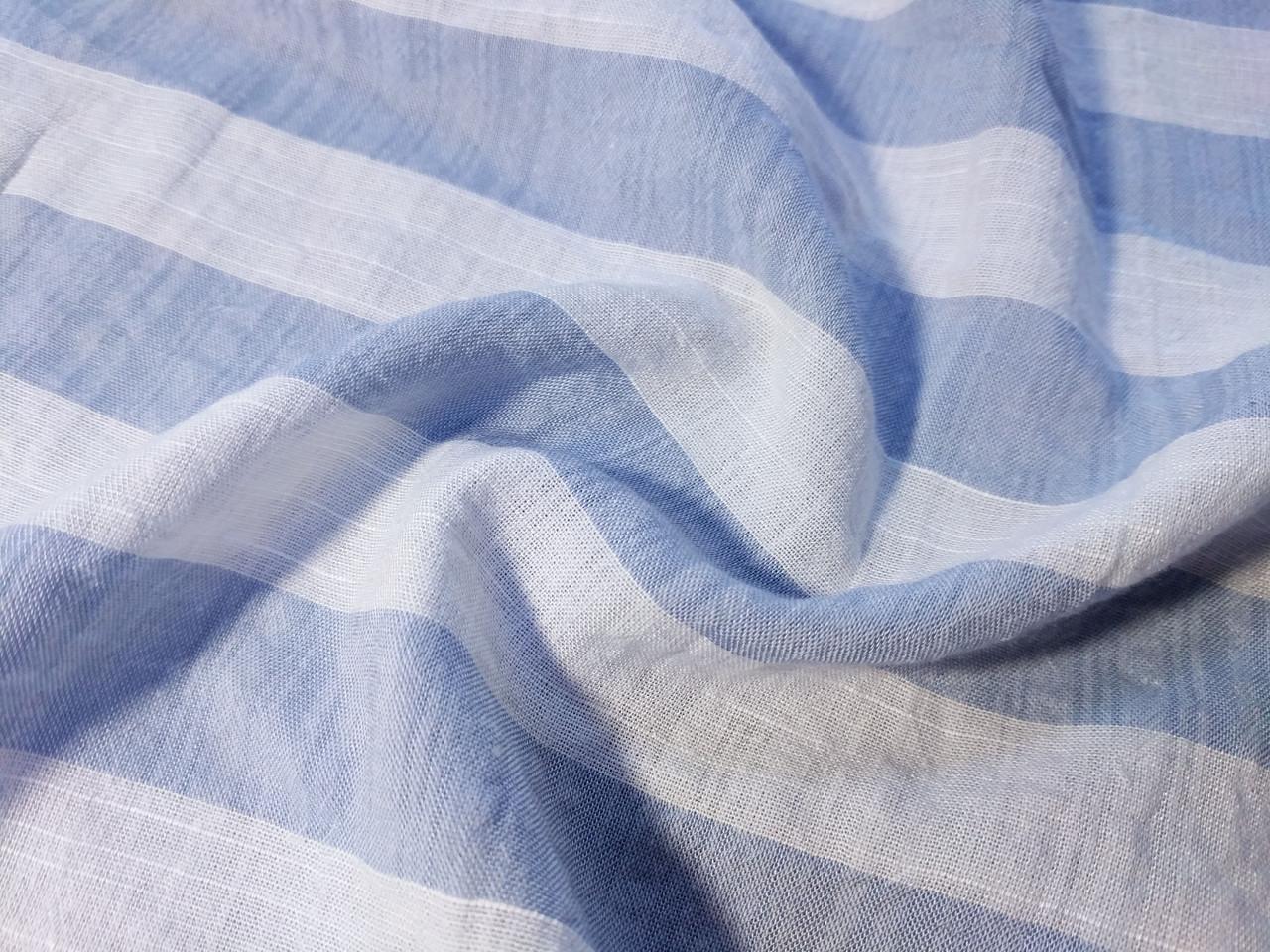 Коттон штапель полоска 25 мм, молочный с голубым