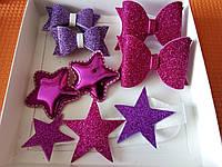Набор детских аксессуаров для волос звездочка, фиолетовый (заколки+резинки+повязка)